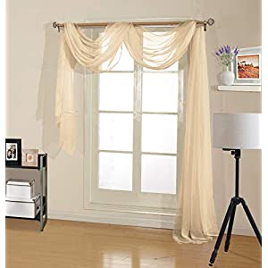Decotex Premium Quality Sheer Voile Scarf Valance for Home & Event Designs