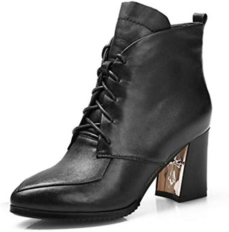 IWxez Damenmode Stiefel Nappa Leder Herbst Stiefel Chunky Heel Closed Toe Stiefelies Stiefeletten Schwarz Beige   Rot