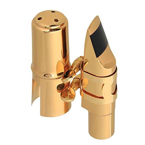 Yibuy B-Mundstück für Tenorsaxophon aus Metall mit Kappe und Blattschraube Größe Nr.7, goldfarben