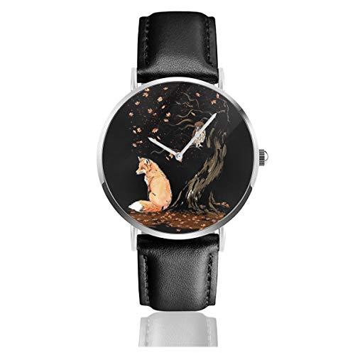 Reloj unisex de negocios, casual, con diseño de animales de otoño, diseño...