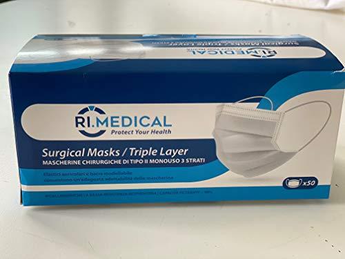 mascherina monouso in tnt antipolvere 3 veli di protezione imballo confezione 50 pz (500 pz)