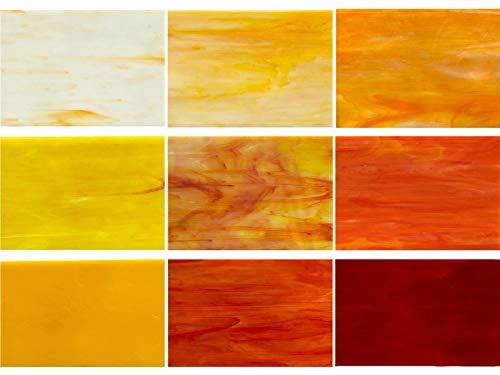 PALJOLLY 9 Stück gelbe Buntglasscheiben, 10,2 x 15,2 cm, Mosaik-Glaskunst-Glas für Buntglas-Projekte und Mosaike