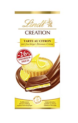 Lindt Creation Tarte au Citron Tafel, fruchtige Zitronen-Crème mit knusprigen Gebäckstückchen umhüllt von feiner Vollmilch-Schokolade, Promotion, 1er Pack (1 x 150 g)