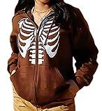 Y2k Sweat à capuche zippé pour femme Style vintage Manches longues Motif squelette, Marron C, L