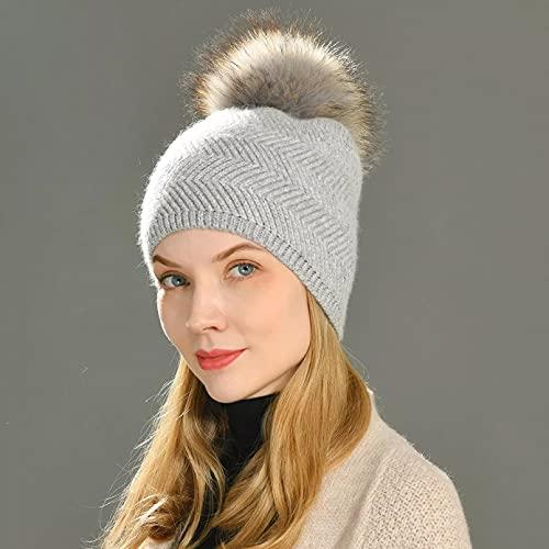 Dingyi Gorro de Invierno para Mujer, Gorros Tejidos de Color sólido, Gorro Suave cálido Grueso Ondulado