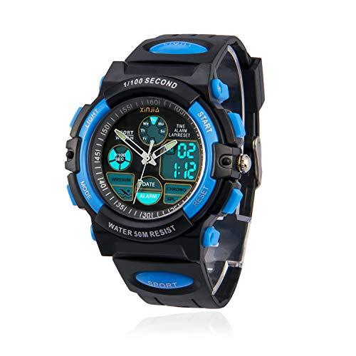 Kinderuhr für Jungen,Digital Analog Armbanduhr 50M wasserdichte Sportuhr im Freien mit Alarm/Stoppuhr/LED-Licht für Jugendliche(Schwarz-Blau)