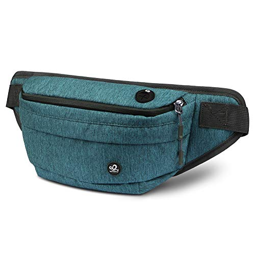 WATERFLY Fanny Pack for Men Women Water Resistant Large Hiking Waist Bag Pack for Running Walking Traveling (Teal blue)