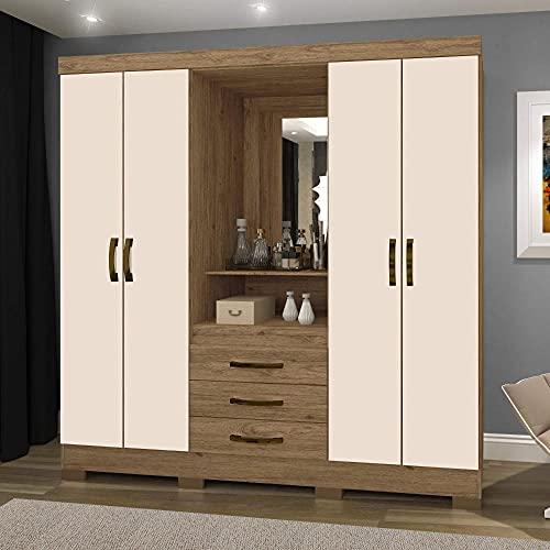 Guarda Roupa Solteiro com Espelho 4 Portas 3 Gavetas Bhappy Espresso Móveis Canela Rústico/off White