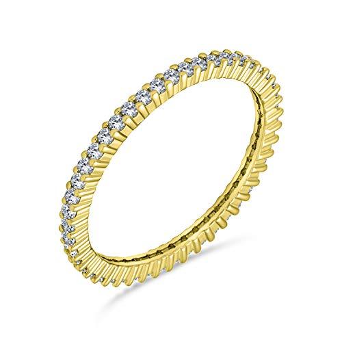Bling Jewelry Pave CZ Cubic Zirconia Impilabile Anello della Fede Nuziale Anniversario dell'eternità per Le Donne 14K Oro Placcato 925 Argento Sterling