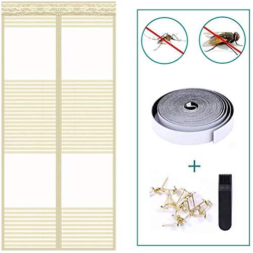 QYDF Beständig Breath Mosquito magnetische Tür-Fenster, Vorhang Anti Mosquito Magnetic das Eindringen von Insekten zu verhindern, Easy Einbaumaße für Türen,Beige,110x220cm