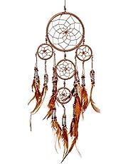 Pink Pineapple Små Handgjorda Bohemian Drömfångare: Etisk Hängande Drömfångare Väggkonst, med Fjädrar och Silver Pärlor med Traditionellt Virkad Design - 12cm Bred, 35cm Lång