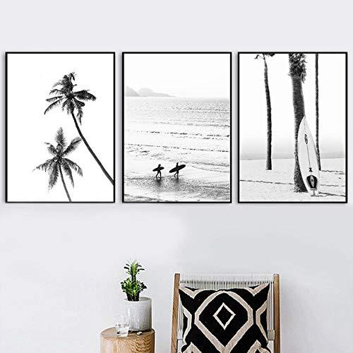 Carteles e impresiones de paisaje de surf costero en blanco y negro imágenes de tablas de surf de olas marinas pintura en lienzo Decoraciónación del hogar 30x50cmx3 sin marco