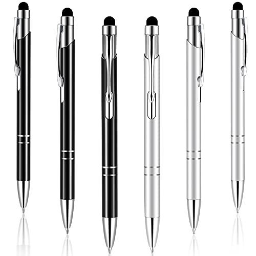6 lápices capacitivos 2 en 1, lápiz capacitivo con punta táctil, compatible con todos los dispositivos con pantalla táctil capacitiva, 2 colores