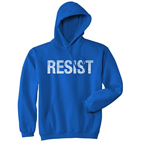 Crazy Dog Tshirts - Resist Sweatshirt United States of America Protest Rebel Political Unisex Hoodie (Royal) - XL - Homme