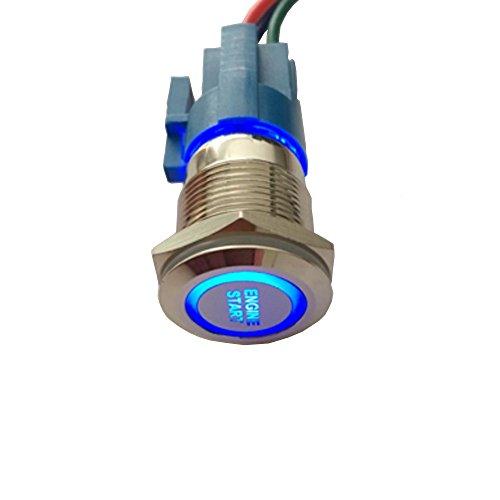 Mintice 19mm Bleu LED 12V Bouton Poussoir Voiture métal Interrupteur momentané Lumière intérieure Engine Start Prise de Courant