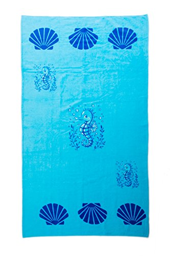 AIREE FAIREE Strandtuch Sommer Handtuch 100% Baumwolle 75 x150 cm Seepferdchen -Muster (Blau)
