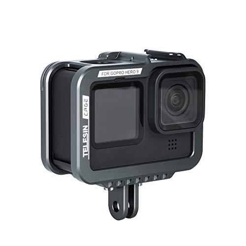 TELESIN Schutzhülle aus Aluminium für GoPro Hero 9, schwarz, horizontal und vertikal, mit Schnellverschluss und Schraube für GoPro Hero 9