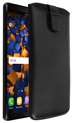 mumbi Echt Ledertasche kompatibel mit Samsung Galaxy A9 2018 Hülle Leder Tasche Hülle Wallet, schwarz