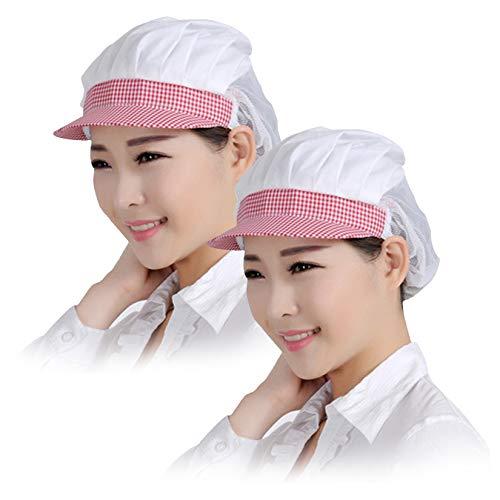 Jiyaru 衛生キャップ 衛生帽 飲食 業務用 メッシュ 2点セット クリーンキャップ 衛生 ぼうし 帽子 クリーン 料理用 キャップ 工場 弁当 レディース 割烹 メンズ フリーサイズ 給食帽 男女兼用 ピンク+白
