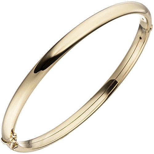 JOBO Damen Armreif Armband oval mit Scharnier 375 Gold Gelbgold Goldarmband Goldarmreif
