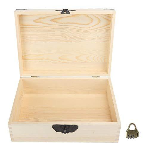 Caja de madera pequeña, caja de almacenamiento pequeña Caja de madera, cajas decorativas Joyero de madera duradero con cerradura para monedas cosméticas