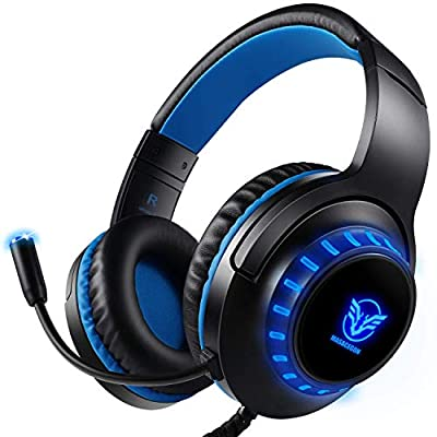 Pro Stereo Gaming Headset for PS4 PC Xbox One S X Nintendo Switch Controller & PC Laptop Mac, Noise Cancelling Over Ear Headphones with Mic, LED Light (Black blue)