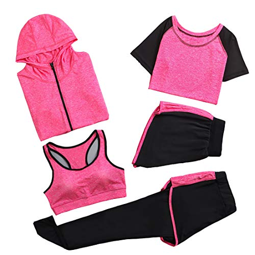 GYUANLAI Damen 5-Teiliger Yoga-Anzug, Sportanzüge Activewear-Set Sportliche Trainingsanzüge Sportbekleidung Fitness-Lauf-Jogging-Fitnessstudio Fitness-Outfit Workout-Trainingsanzug 5-Teiliges Set