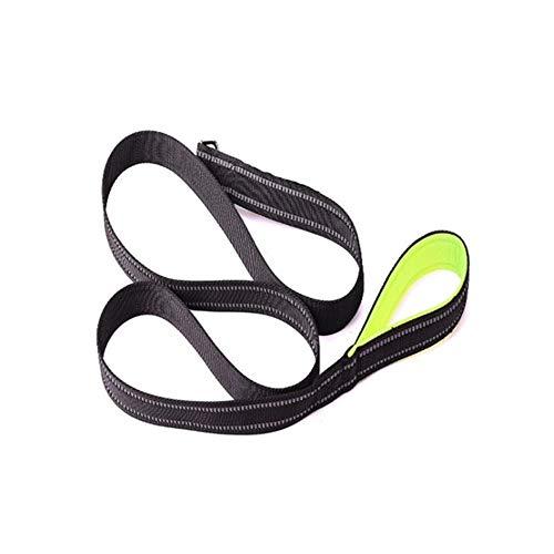 XYBB hondenriem set met handgrepen voor dogtraining wandelen reflecterende Pet Dog Collar Leash, 2.5*150cm, Linnen groen.