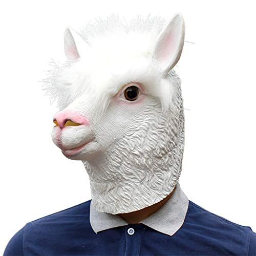 Somnrchun carnaval wit masker partij benodigdheden latex masker Alpaca lama Styling kap partij masker