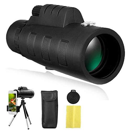 Home Safety Telescopio monocular - 40x60 Alta definición FMC BAK4, Impermeable monoculo telescopio portatil para Juego de Pelota, Concierto con Adaptador de Soporte para Smartphone y trípode