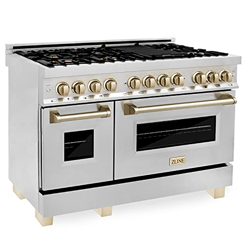 """ZLINE Autograph Edition 48"""" 6.0 cu. ft. Dual Fuel Range with Gas Stove and Electric Oven in Stainless Steel with Gold Accents (RAZ-48-G)"""