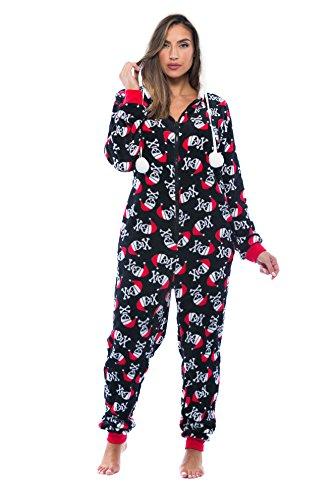 6342-10177-M Just Love Adult Onesie / Pajamas,Medium,Black - Santa Skull