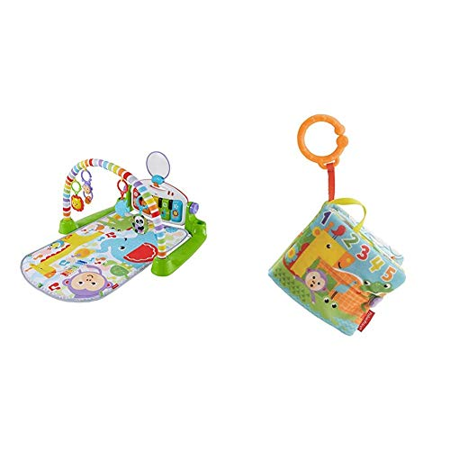 Fisher-Price Gimnasio Piano Pataditas superaprendizaje, Manta de Juego bebé (Mattel FWT12) + Libro Activity bebé, Juguete Colgante para bebé recién Nacido (Mattel FGJ40)