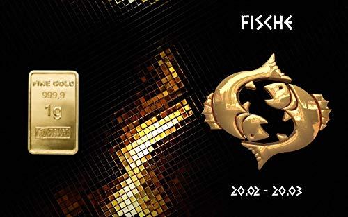 Deutsches Goldkontor 1,0 Gramm Feingold Motiv-Karte Sternzeichen Fische Goldbarren / 999,9 Gold