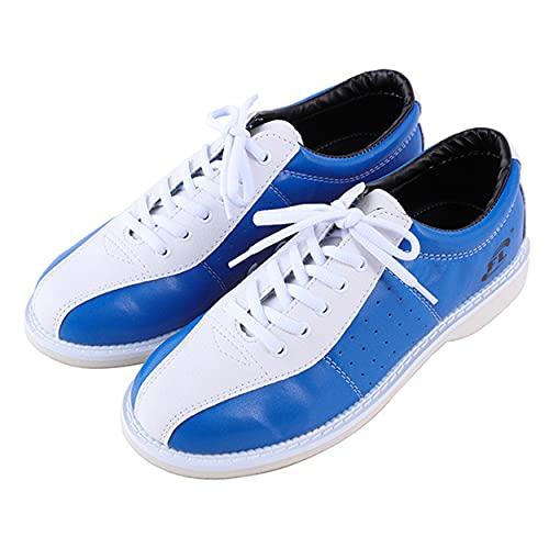 WJFGGXHK Mens Bowlingschuhe Lederschüsseln Schuhe Leichte Atmungsaktive Bowling Trainer Unisex,Blau,45 EU