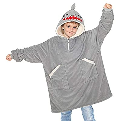 Unicorn Castle Hooded Wearable Blanket Grey Shark Sherpa Blanket Sweatshirt with Pockets Oversized Soft Fleece Blanket Long Sleeve Wearable Blanket for Kids Toddler