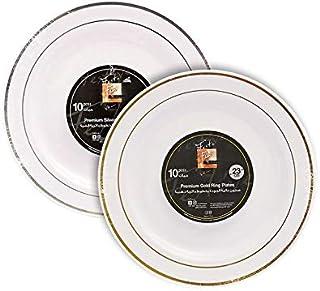 Fun® Festive Premium Plastic Dinner Plate Set 23cm - Assorted, Pack of 10