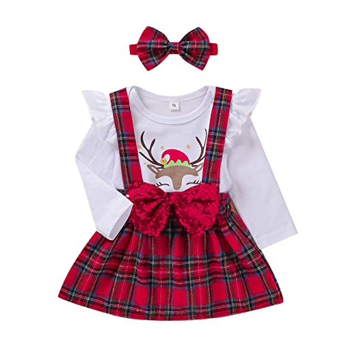 Christmas Toddler Kids Baby Girl Suspender Skirt Outfits Ruffle Top Romper+Plaid Skirt+Headband 3pcs Clothes Set (White,12-18months)