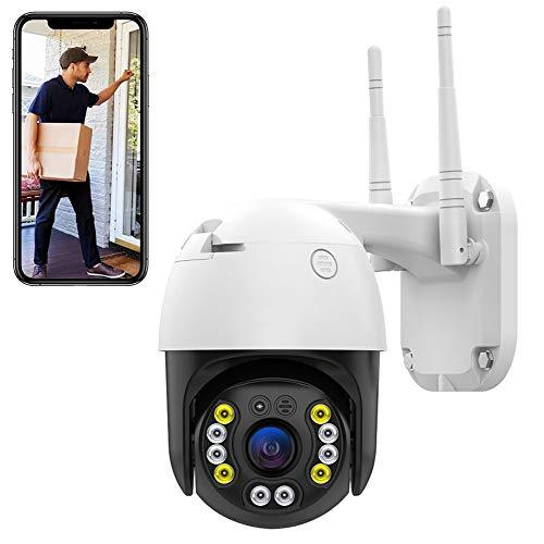WLAN ÜberwachungsKamera Aussen,Dome IP Kamera, HD 1080P Zweiwege-Audio, PTZ 265° Schwenkbar WiFi Cam, 30m IR-Nachtsich, IP66 wasserfest, Bewegungsmelder, Unterstützung von Mobile App Kontrolle