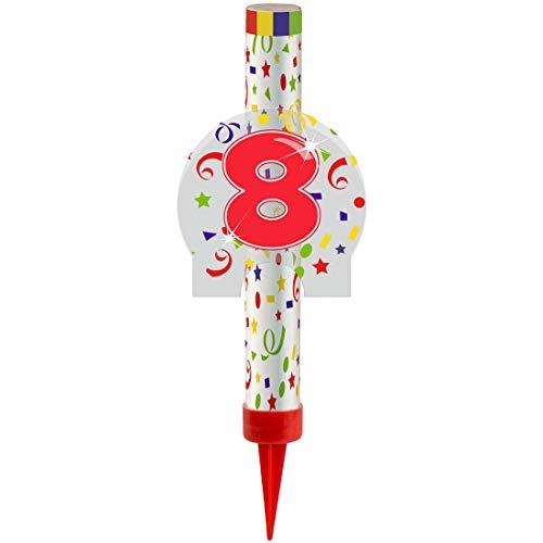NET TOYS Eisfontäne mit Zahl 8 | Länge ca. 12 cm & Brenndauer ca. 45 Sek. | Traumhafte Party-Tischdeko Geburtstagsfontäne als Kuchen-Deko | Perfekt geeignet für Geburtstagsfeier & Kindergeburtstag