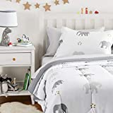 Amazon Basics Easy Care Super Soft Microfiber Kid's Bed-in-a-Bag Bedding Set - Twin, Grey Elephants