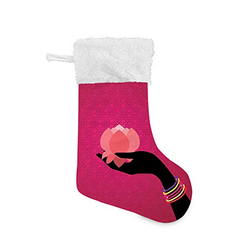 Christmas Stocking, Silhouette of Woman Hand with Bangles Holding a Japanese Flower Asian Folklore Design, Xmas Character 3D Plush with Faux Fur Cuff Christmas Decorations and Party Accessory