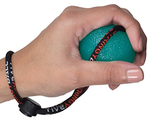 Secure Stress Ball on a String - Perfect for Stress Relief, Hand Exercise, Strengthening, Rehabilitation - Medium Density All with Exercise Guide - No Falling or Rolling Away (Medium - Green)