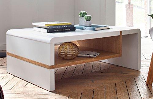 lifestyle4living Couchtisch aus AST-Eiche Massiv Holz geölt, Weiß lackiert, mit Ablagefach | Schöner Wohnzimmertisch für gemütliche Wohnzimmer