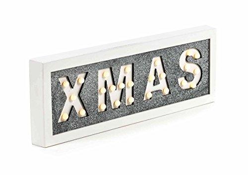 Schriftzug XMAS beleuchtet, 25 LEDs, robustes MDF, batteriebetrieben, freistehend, weiß, Breite ca. 40 cm