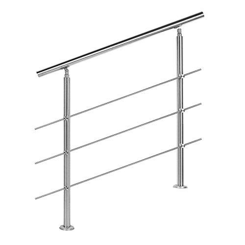WilTec Rampe d'escalier Acier affiné V2A 3 Tiges 80 cm Rambarde Main Courante Balustrade