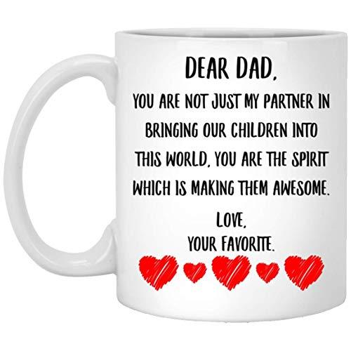 N\A Mensaje del día del Padre para papá: Eres el espíritu Que los está Haciendo Impresionante Taza de café Blanca de 11 oz