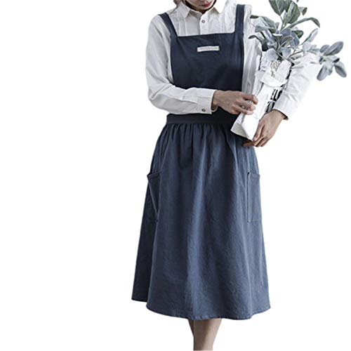 KTSWP Femal Apron Professional Art Painting Nordic Apron for Flower Shop Butchers Kitchen Cooks Restaurant Bistro BBQ School College Double Pockets 100% Cotton,Dark-Grey