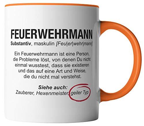 Taza de bombero con texto en alemán 'Wikipedia', diseño profesional, regalo para bomberos, impresa por ambos lados, idea de regalo, tazas de café con texto, color blanco y naranja