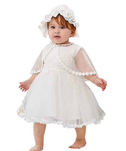 Happy Cherry Robe Princess Dentelle Bébé Fille Blanc Robe De Baptême Bébé Nouveau-Né avec Bonnet Robe de Cérémonie Mariage Anniversaire Fille Shooting Photo 6-12 Mois